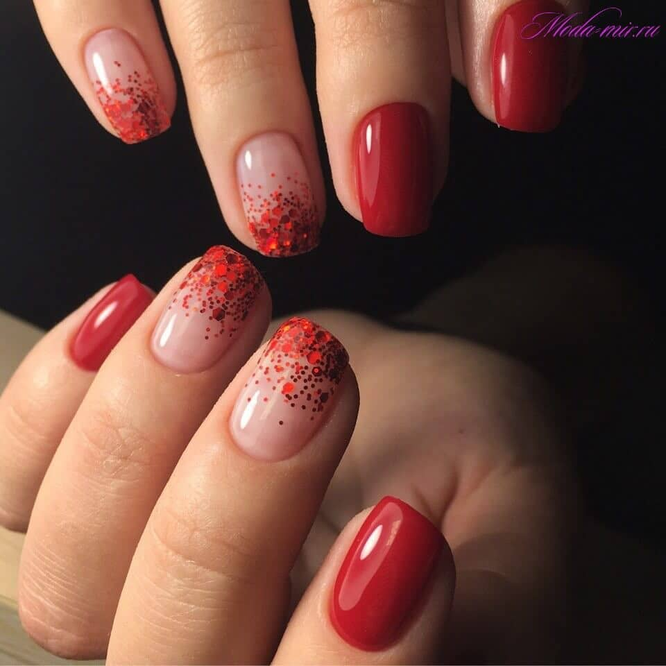 Chunky Red Glitter and Short Nail Manicure