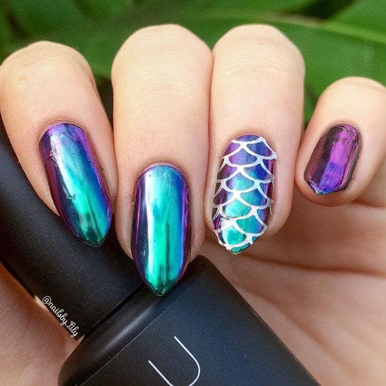 Easy Metallic Ombre Futuristic Mermaid Nail Design