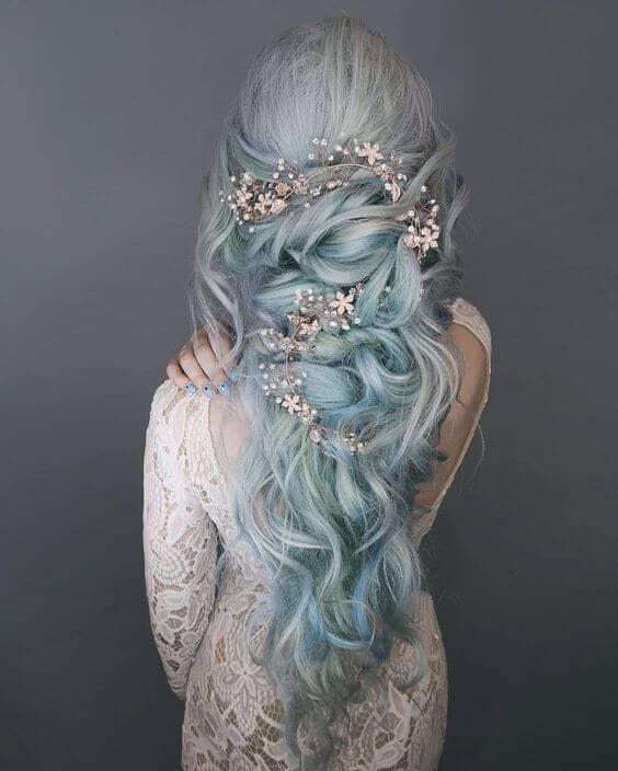 Romantic Waves in Pastel Blue Hair
