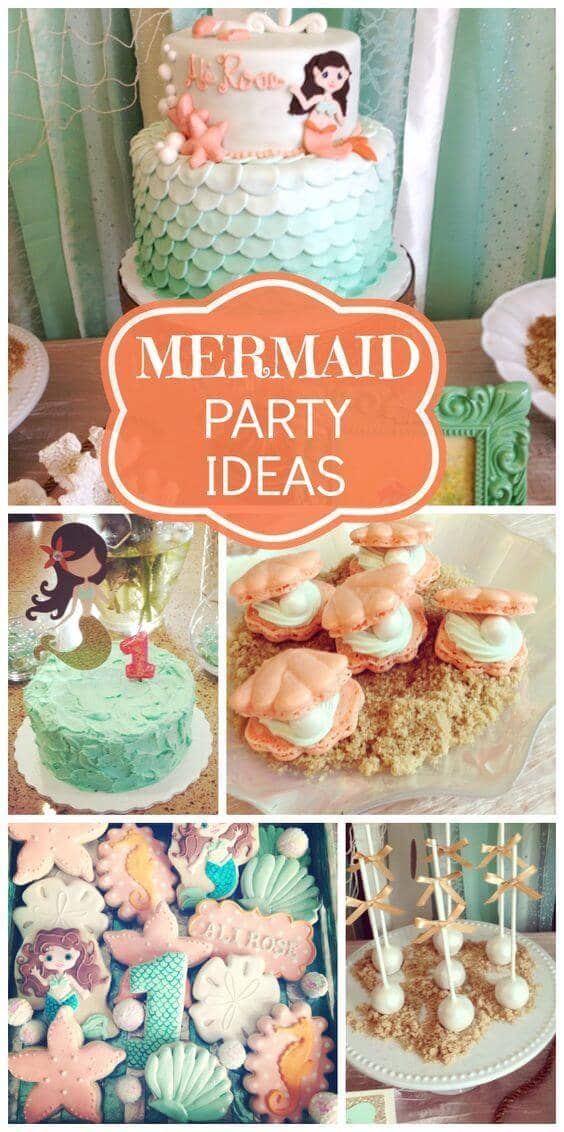 Turquoise and Coral Mermaid Party Decorations