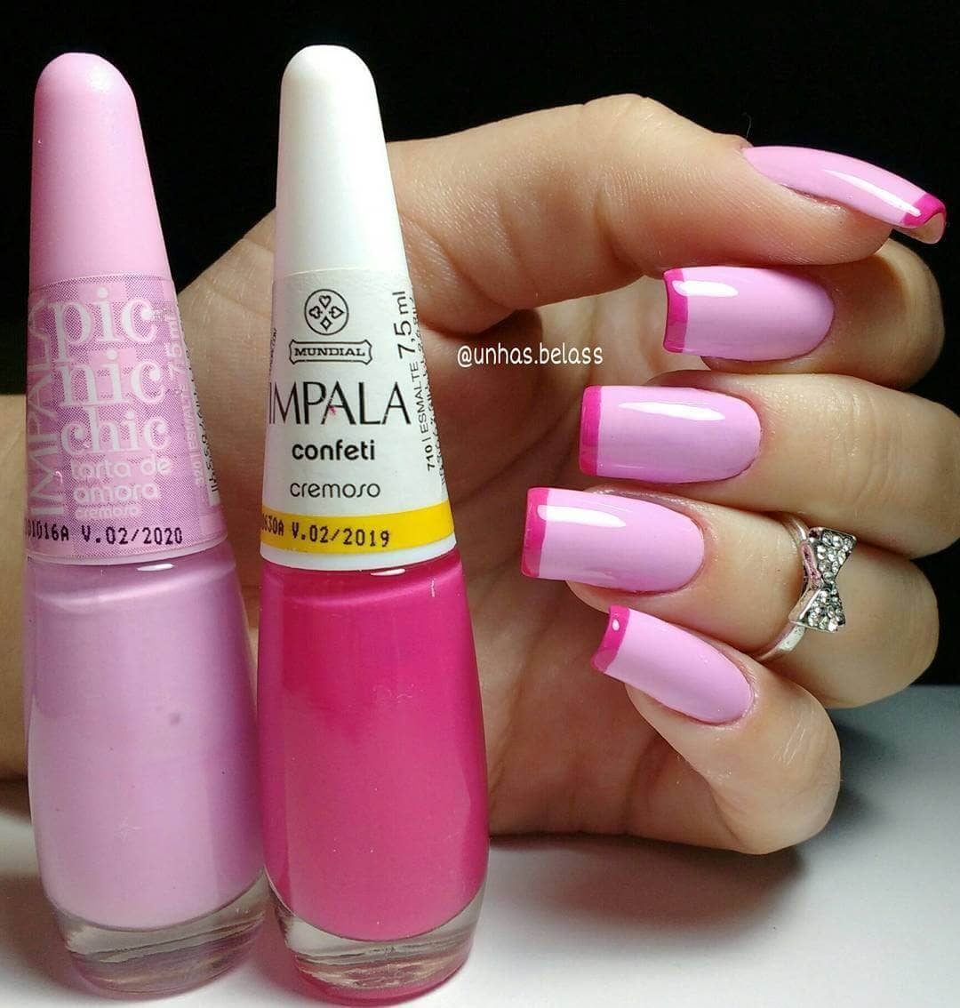 Unique Pink and Magenta French Tips