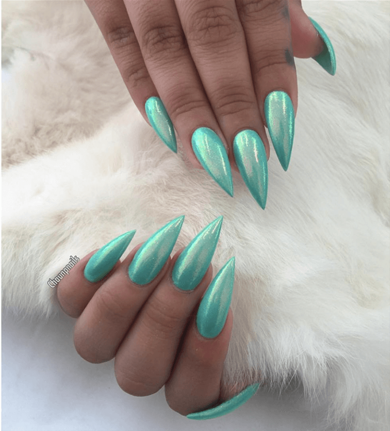 Sharp and Unique Cyan Coffin Nails Glitter