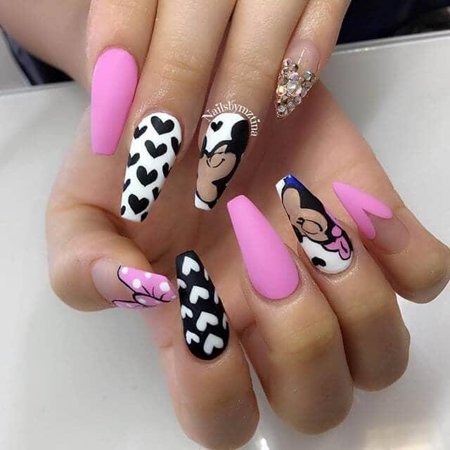 Coordinating Black, Pink, And Disney Nail Art Designs