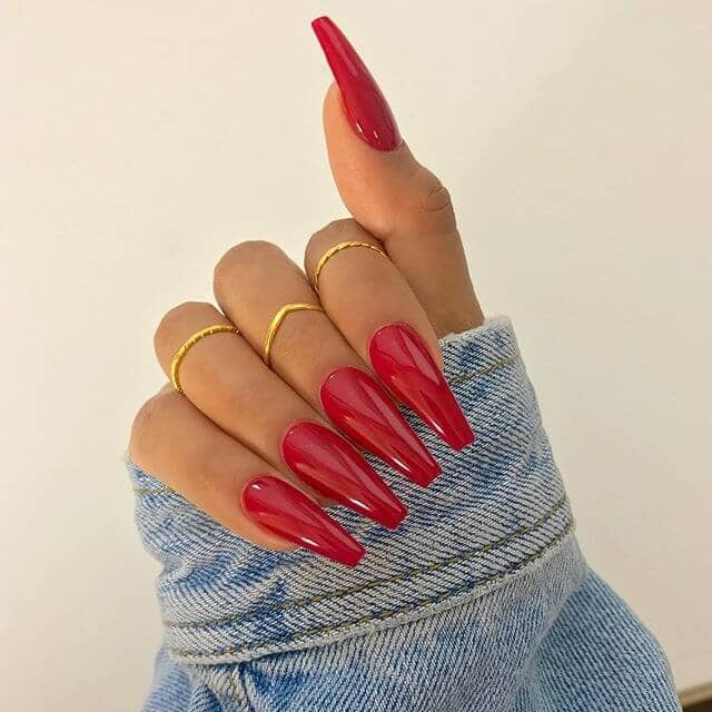 Red Ultra Long Coffin Nails