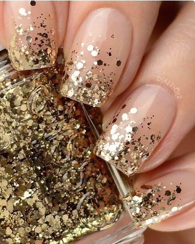 Gold Glitter Glam French Nails