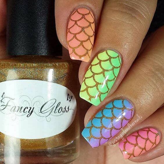 Fun Rainbow Fish Scale Long Nail Designs
