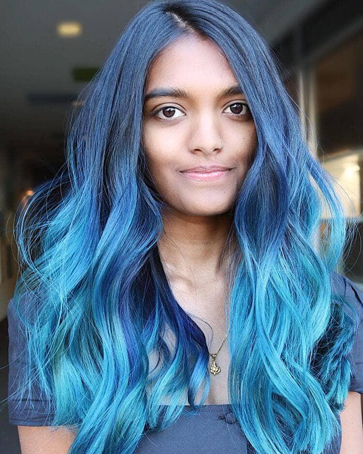Blue Ombre Hair for Dark Hair Colors