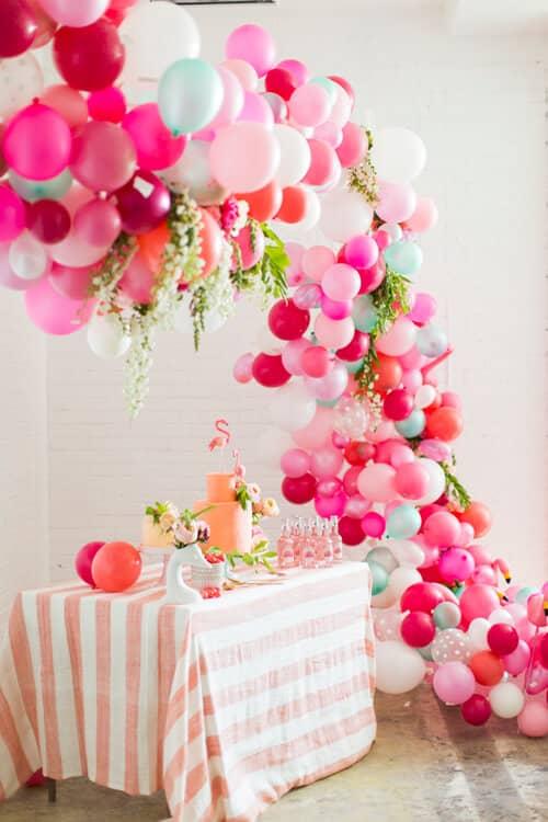 Pink Balloon Cascade Over Dessert Table
