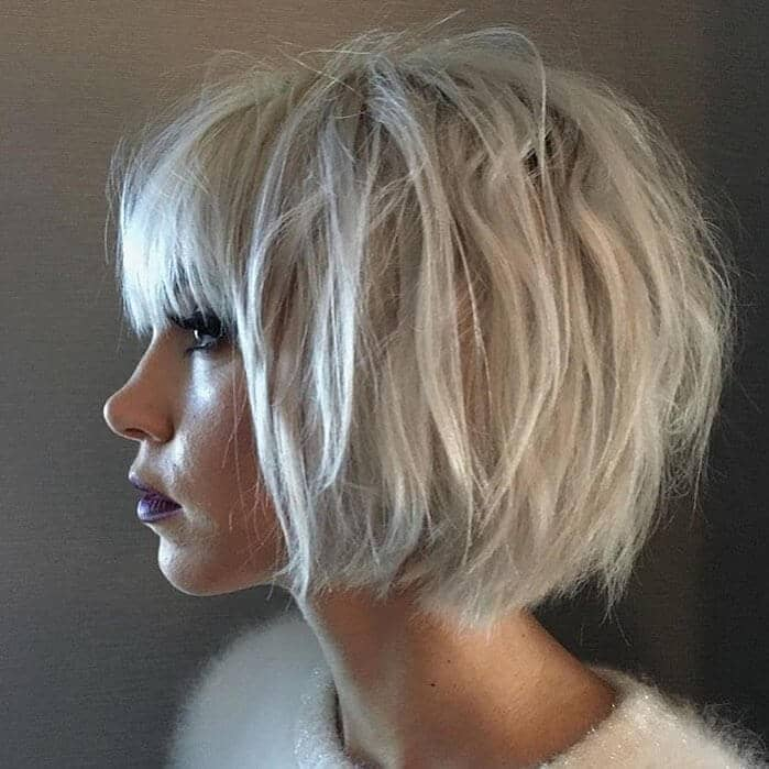 Mussed Up Short Layered Bob With Bangs