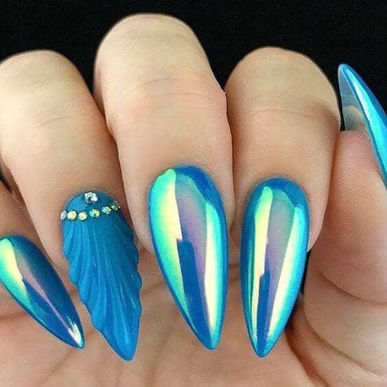Blue Gem Stone Cut New Nail Trend