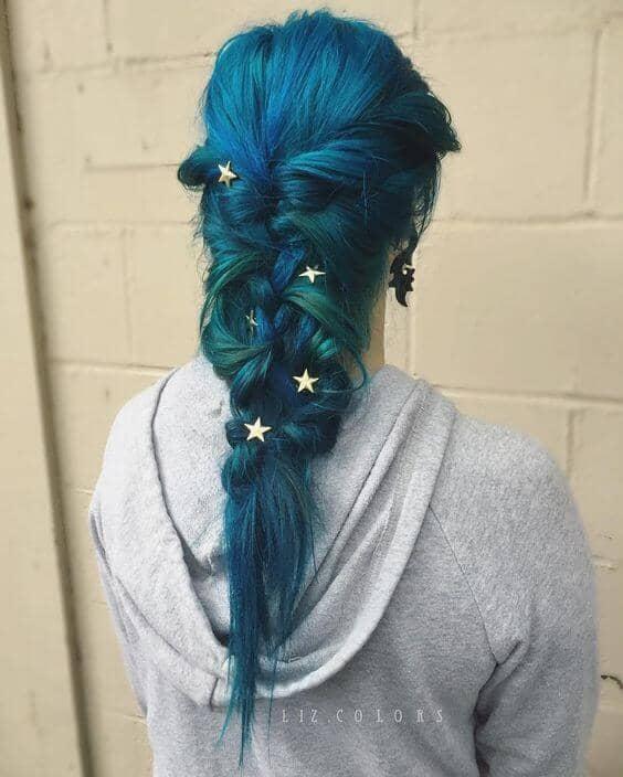Dark Teal Hair in Messy Braid