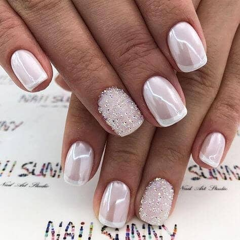 Pearlescent Pink and White Nails