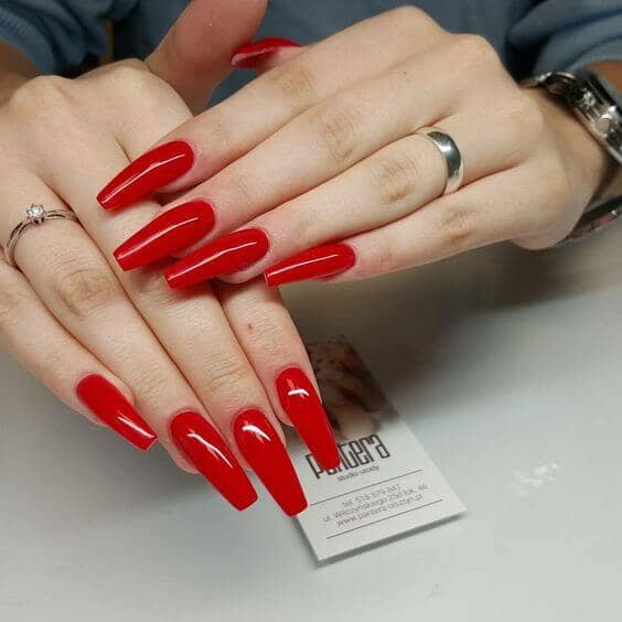 Classic Red Long Coffin Nails Design