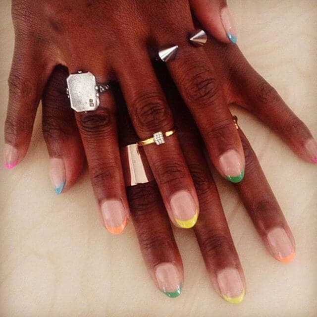 Rainbow French Tip Nails with Pizzazz