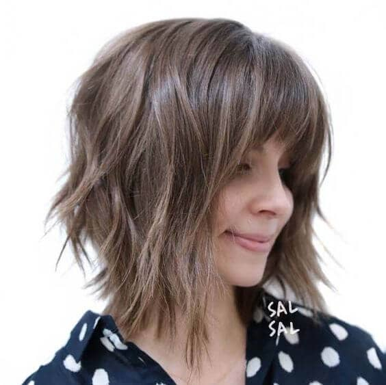 Pretty Angled Layered Bob With Bangs