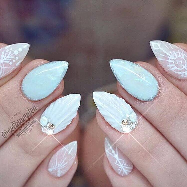 Coachella Festival Seashell Short Nail Designs