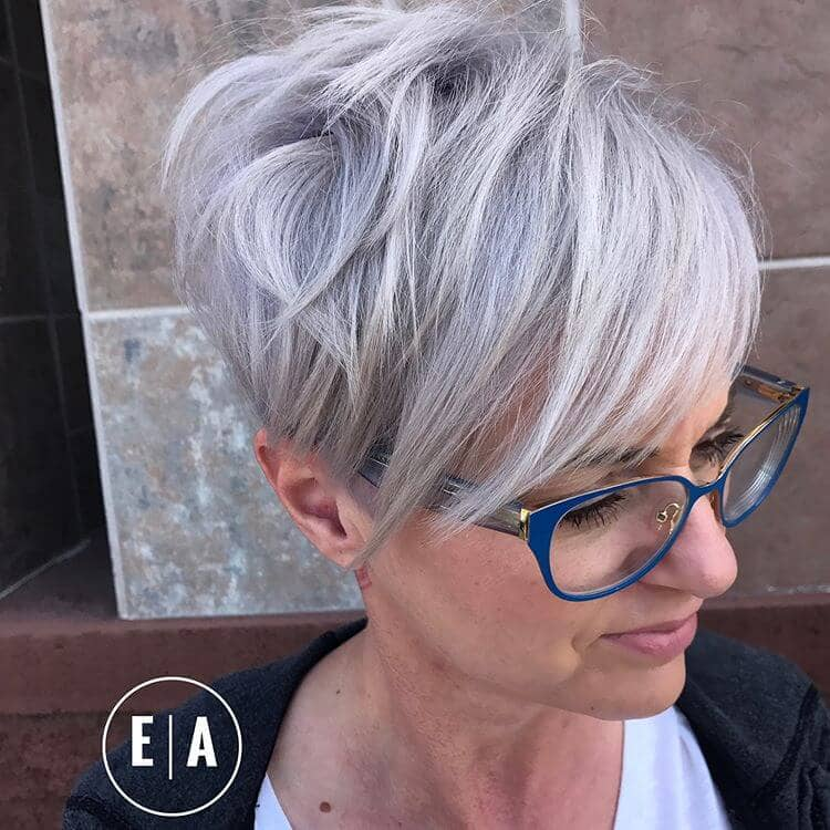 Silver Pixie Hairstyle With Smooth Bangs