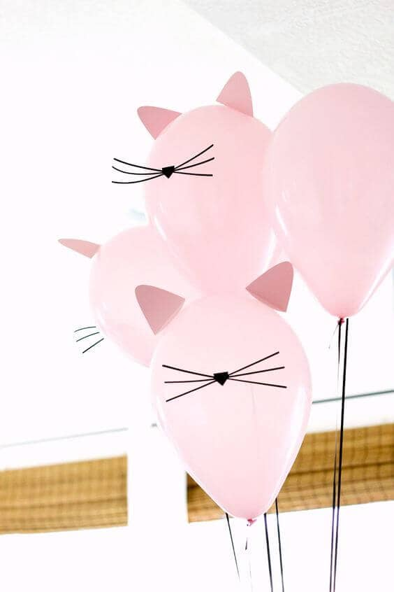 Easy Pink Cat Balloon Decorations