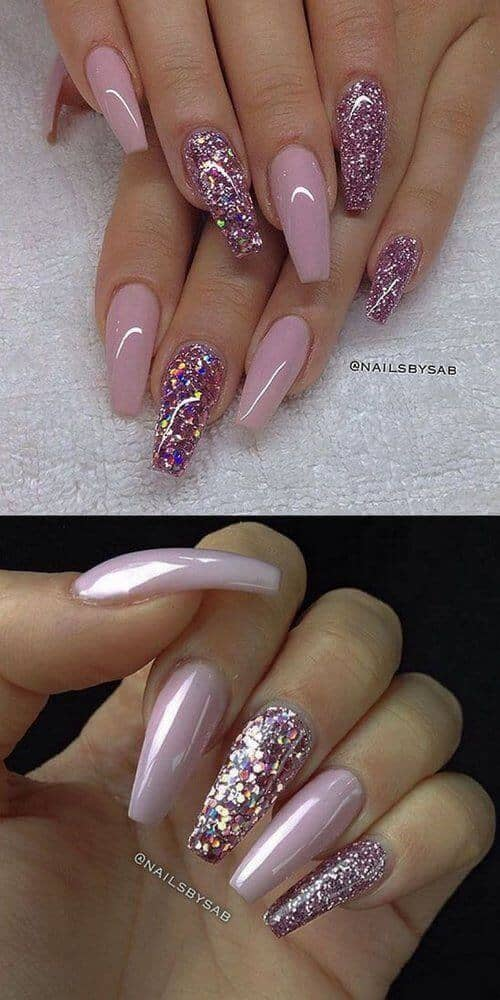 Long Glittery Nails With Pink Accents