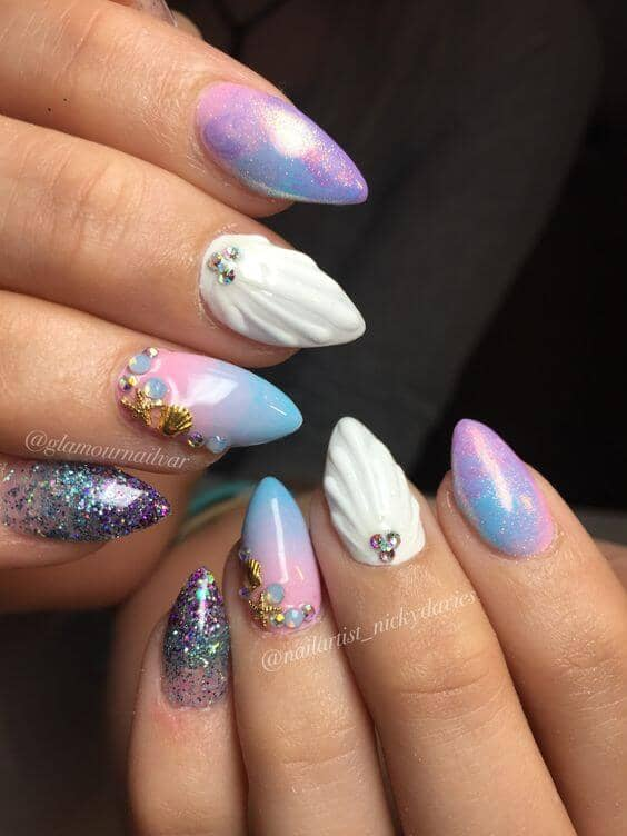 3D White Seashells and Fairy Dust Nails