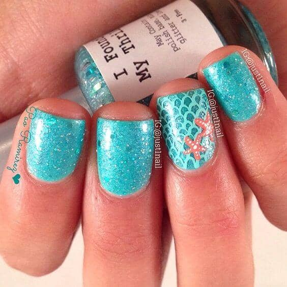 Teal Fairy Dust Nails (featuring Short Nails)