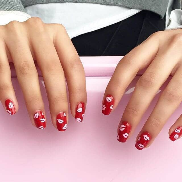 Cute Kisses Red And White Lips Nail Design