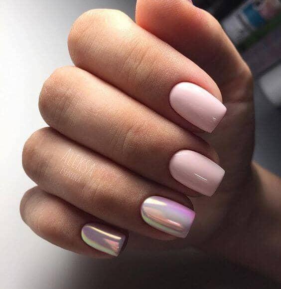 Progressive Iridescence Mixed With A Pink Nail Base