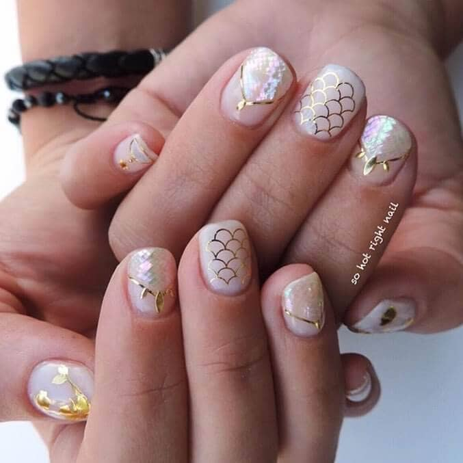 Pale Pink and Golden Cute Glitter Nails