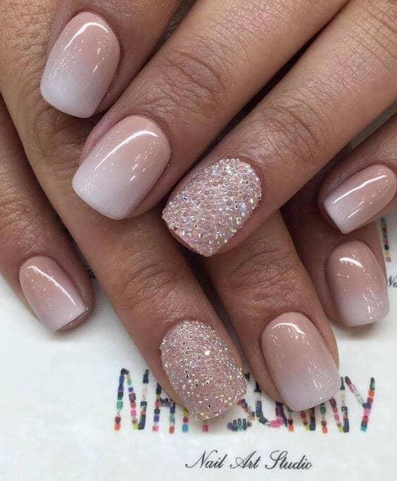 Classy Pink, White, and Glittery Manicure