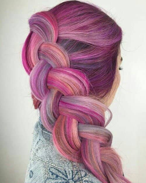 Pink Hair in a Side Braid