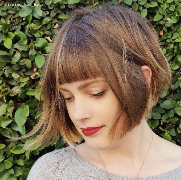 Adorable Smooth Bob With Short Bangs