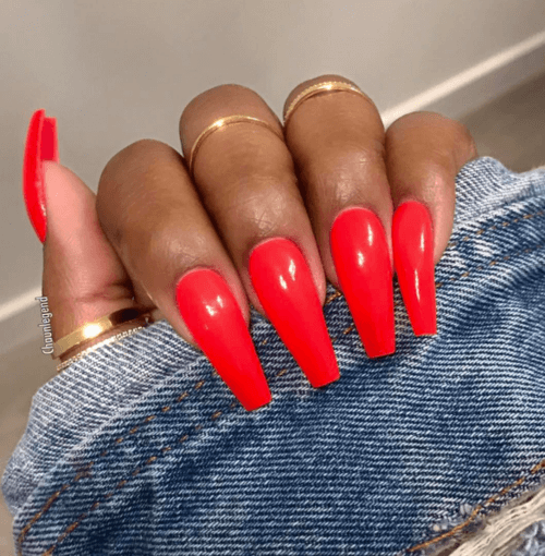 Casual Friday Red Coffin Nails