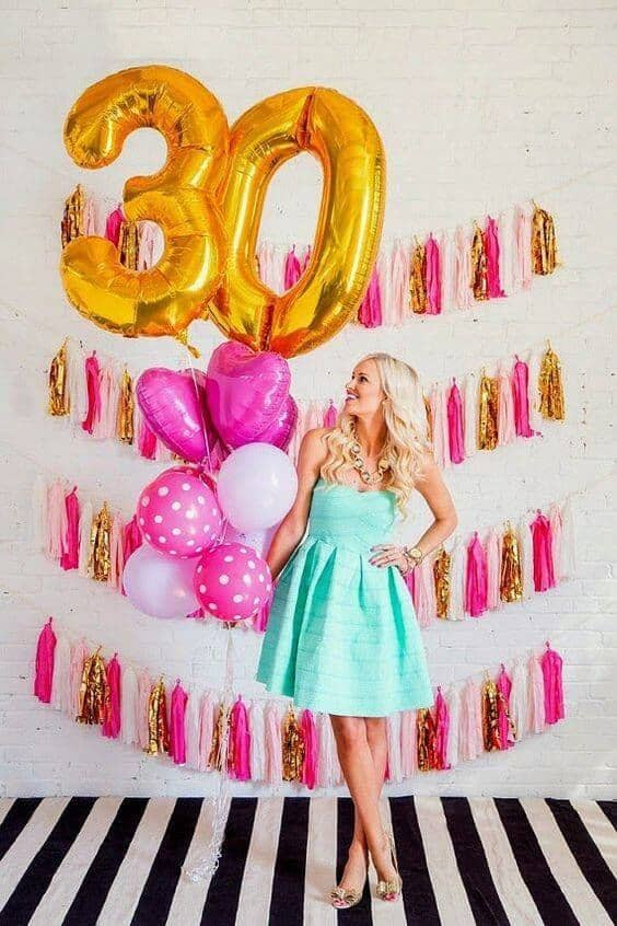 Pink and Gold 30th Birthday Party Idea