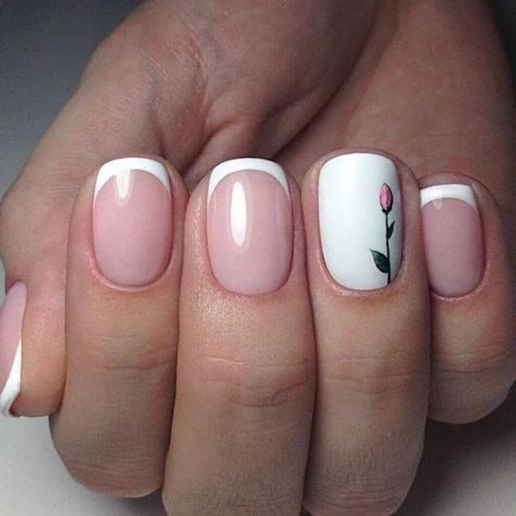 Tulips with a White Tip Nail Design