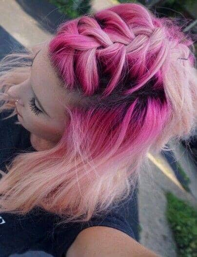 Hot Pink and Blonde Braided Hair