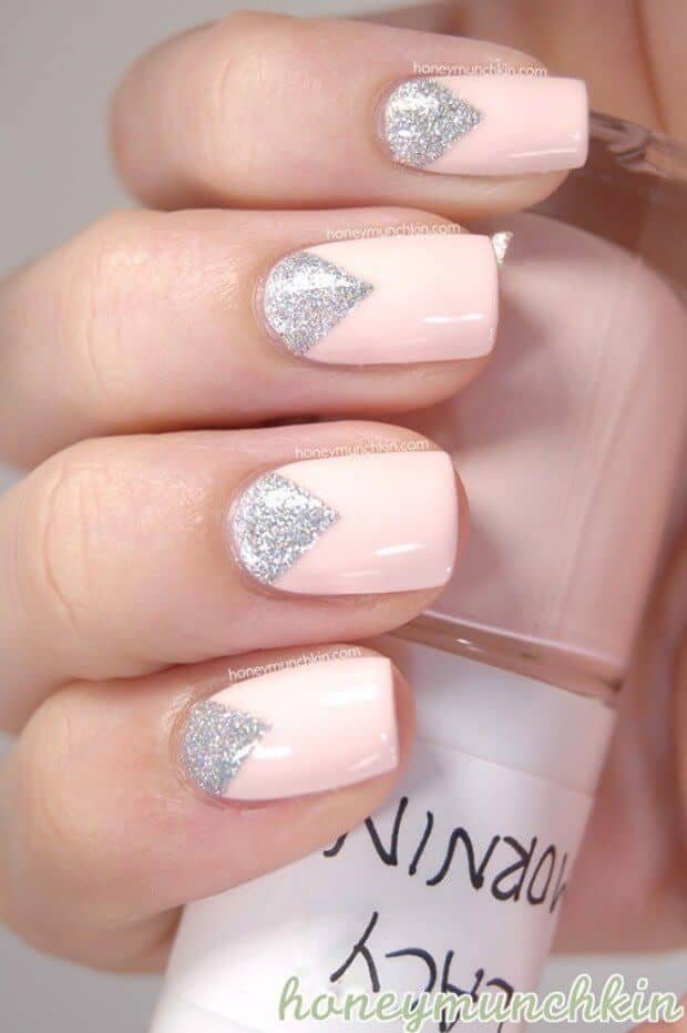 Glitter Triangles Nn Pastel Pink Cute Easy Nail Design