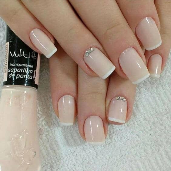Bejeweled French Tip Nails in Pink