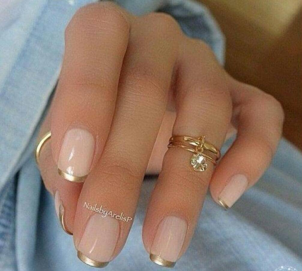 Pink and Gold Chrome Nails