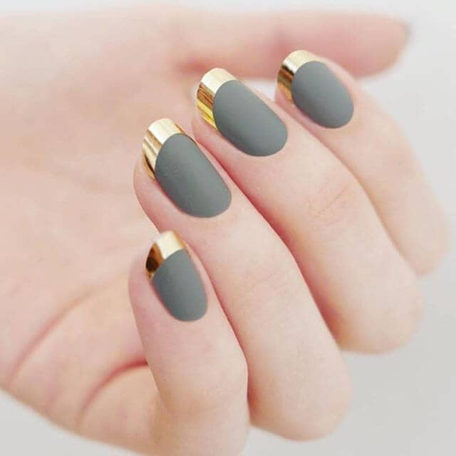 Unique Nail Designs with Gray and Gold