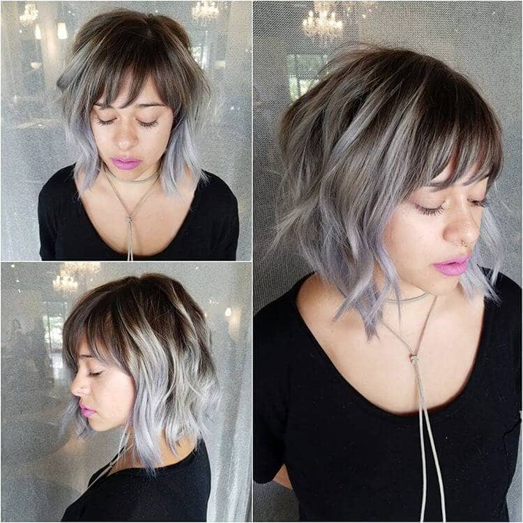 Wavy Silver Ombre Lob With Wispy Bangs