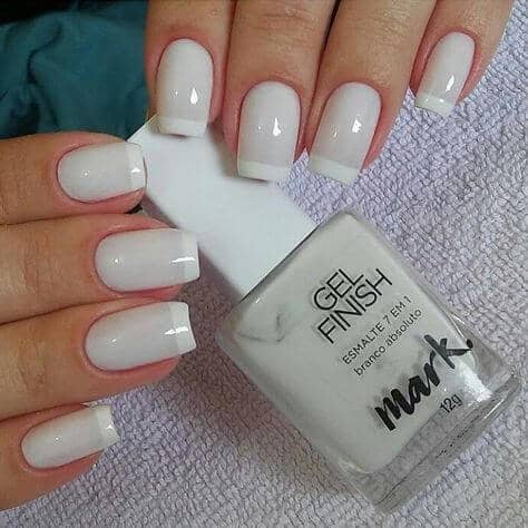 Pale Gray French Tip Nails
