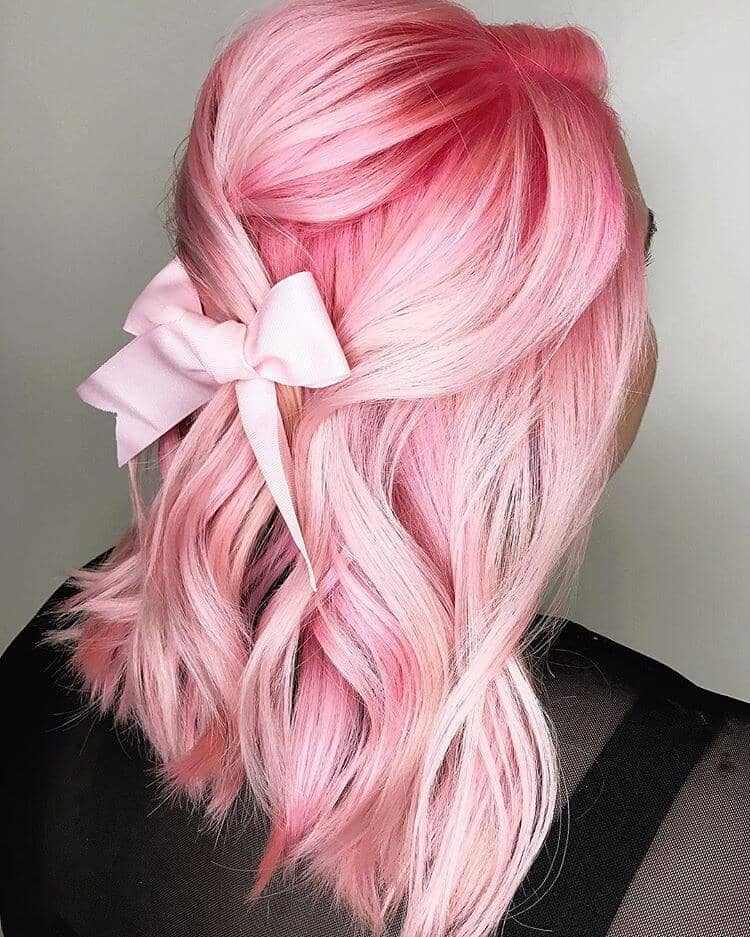 Medium Length Soft Pink Hair