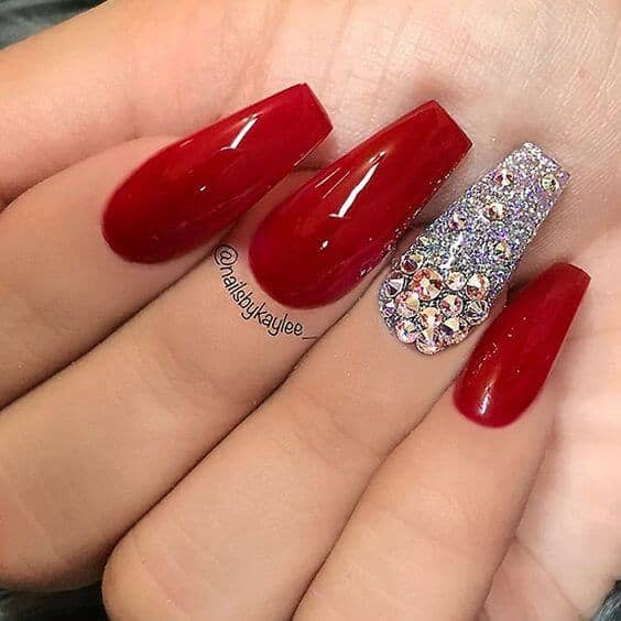 Crown Jewels - Red And Chunky Rhinestone Coffin Shaped Nails
