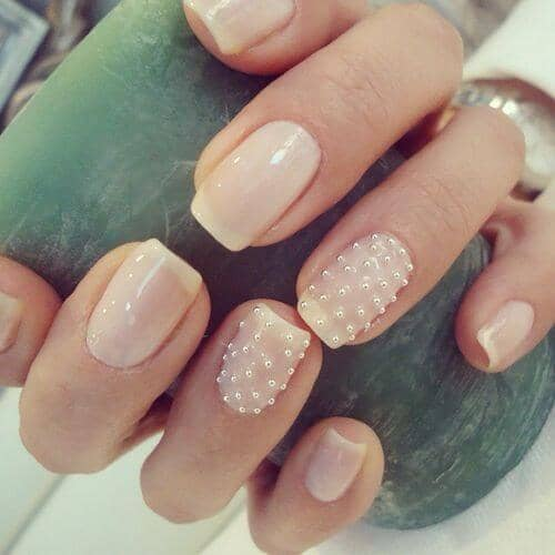French Tip Nails Studded with Pearls