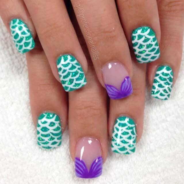 Disney Inspired Little Mermaid Nail Art Designs