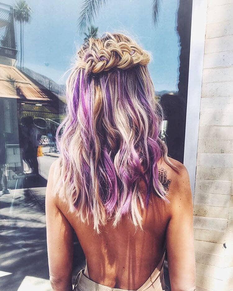 Purple Highlights with Beachy Braid