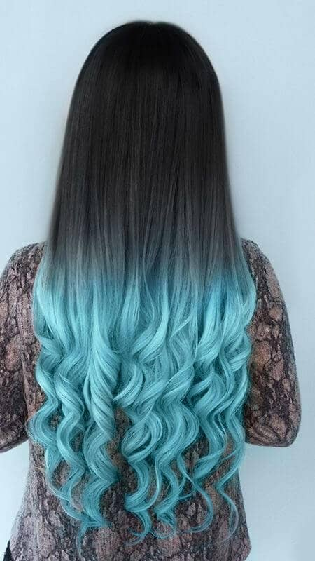 Turquoise Ombre for Dark Hair Colors