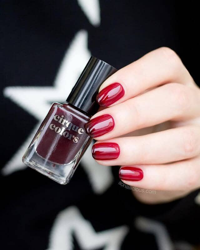 Bright Red And Oxblood Red Edgy Manicure