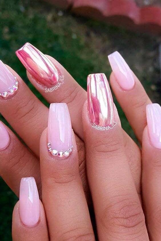 Chrome, Rhinestone, And Pink Nail Design