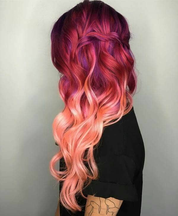 Pink Hair with Violet Lowlights<